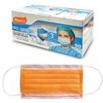 Μάσκες προστασίας προσώπου πορτοκαλί με λάστιχο Non Woven συσκευασία 50 τεμαχίων 4-52-521
