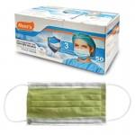 Μάσκες προσώπου πράσινη με λάστιχο Non Woven συσκευασία 50 τεμαχίων 4-52-522