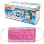 Μάσκες προστασίας προσώπου ροζ με λάστιχο Non Woven συσκευασία 50 τεμαχίων 4-52-523