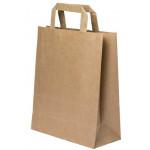 Τσάντα χάρτινη (Σακούλα) με πλακέ χερούλι Υ35x26x12εκ. καφέ